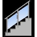Nerezové skleněné hranaté zábradlí na schody boční kotvení. sklo 4.2.4
